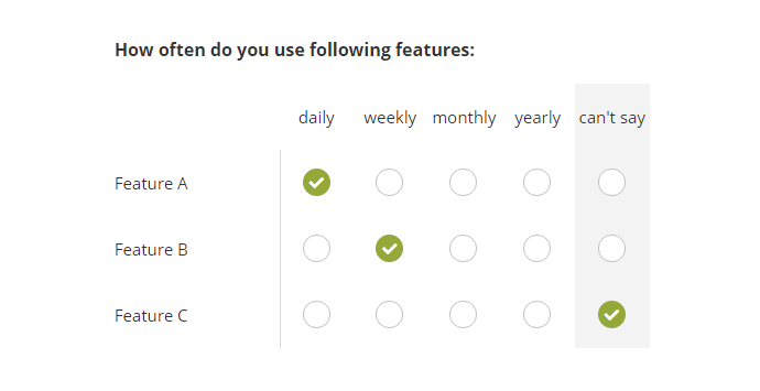 Multiple Choice Grid (Single Answer)