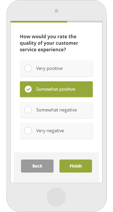 Online survey optimized for mobile devices